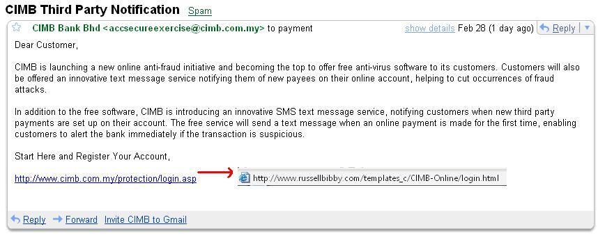 Email Scam CIMB