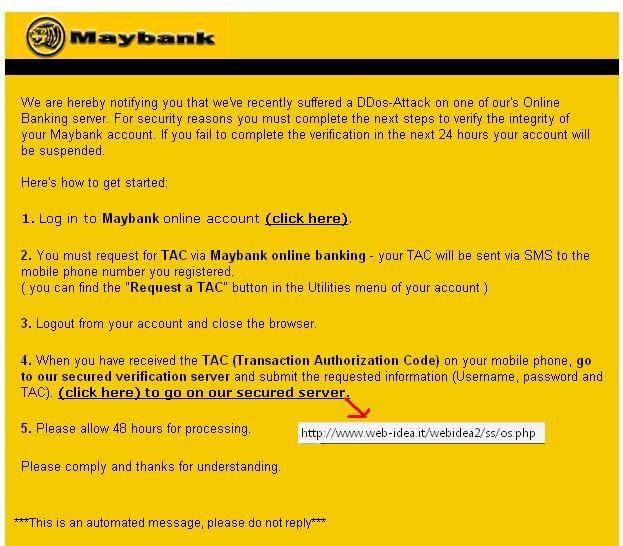 Maybank Phising Email