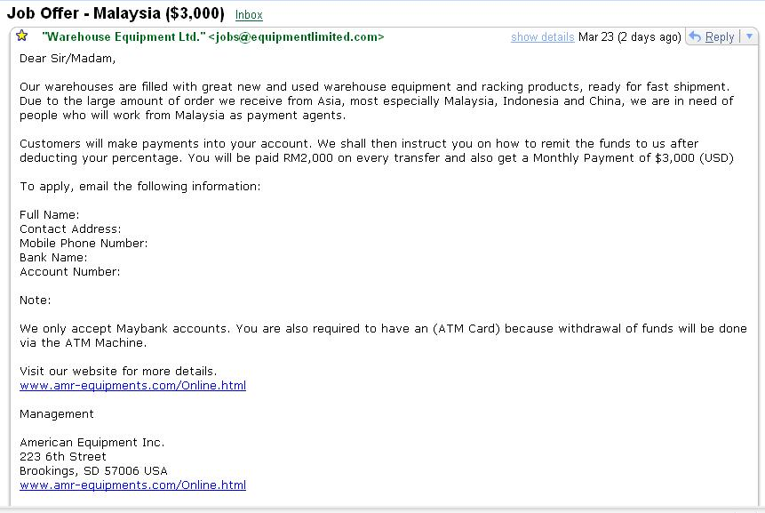 Job Offer Opportunity Scam
