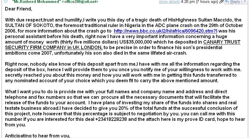 nigerian scammer