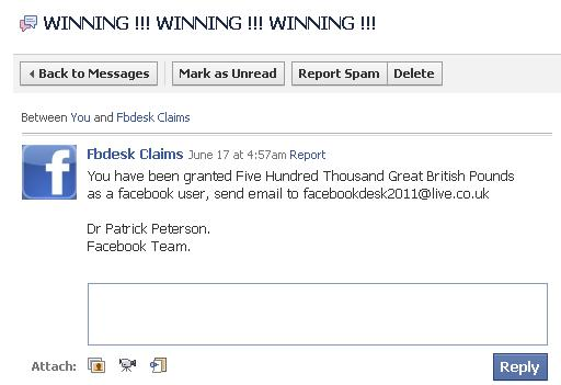 Fb lottery scam
