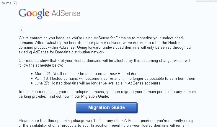 Adsense for domain