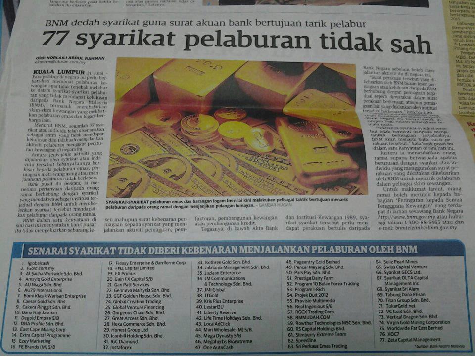 Syarikat pelaburan tidak  sah  di malaysia